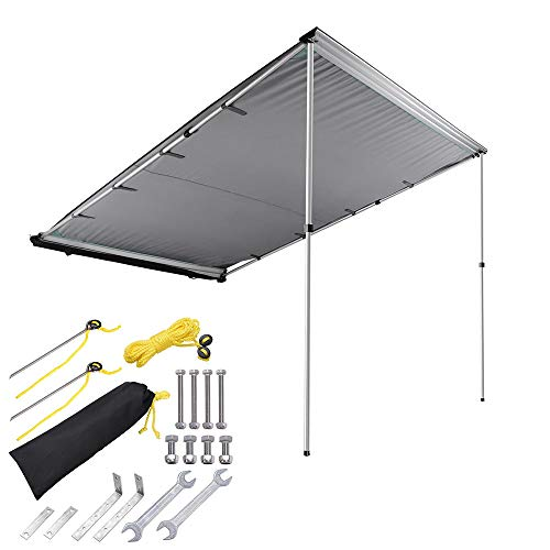 Yescom 6.6'x8.2' Car Side Awning Rooftop Pull Out Tent Shelter PU2000mm UV50+ Shade SUV Outdoor Camping Travel Grey