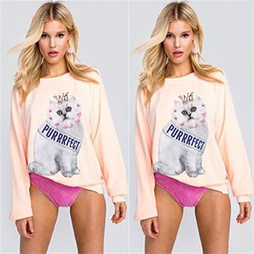 Rosa Gráfico Sudadera Manga Mujer Gato O Larga Otoño Mode Pink Estampado Moda t8w7nfq8
