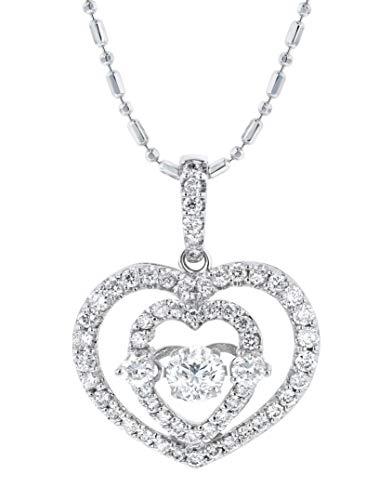 Olivia Paris 14k White Gold 3/4 Carat ctw (H-I, I1) 3D Heart Dancing Diamond Pendant Necklace, 18