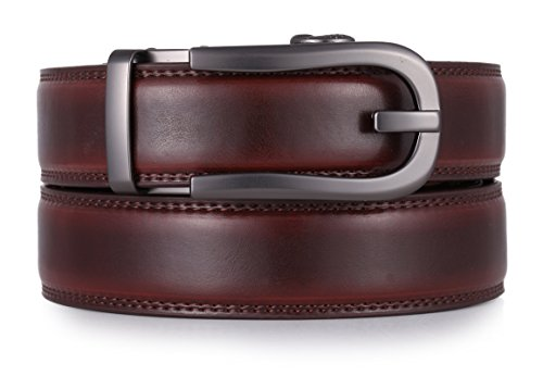 Mio Marino Ratchet Click Belts for Men – Mens Comfort Genuine Leather Dress Belt – with Automatic Buckle, Enclosed in an Elegant Gift Box – Style 186 – Mahogany – Adjustable from 28″ to 44″ Waist
