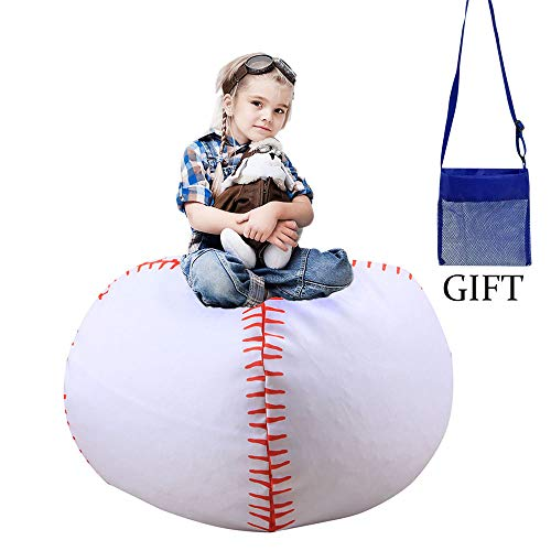 Storage Bean Bag Chairs For Kids 38 Inch Stuffed Animal Extra Large, Blanket Fill Beanbag Cover,Plush Toy Organizer For Child, Stuffed Seat Storage Sack Soft Smooth Polyester,Kid'S Room -Baseball