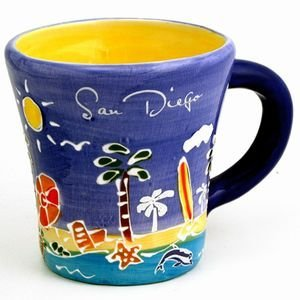 San Diego Coffee Mug Hand Painted Blue Trumpet Mug (Coffee San Mug)