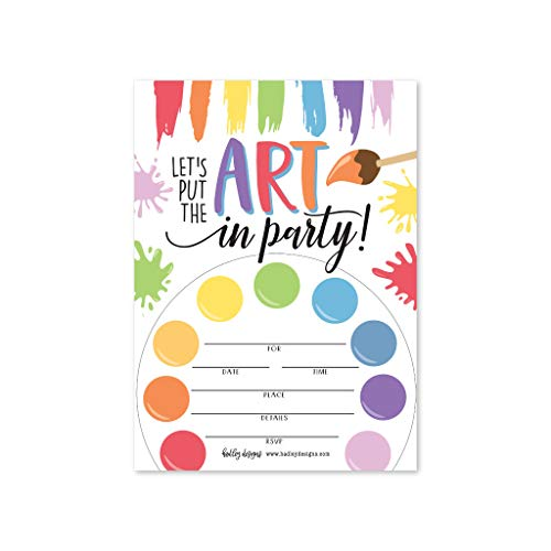 (25 Art Rainbow Paint Splatter, Color Palette Kids Birthday Party Invitations, Bright Colorful Painting Craft Themed Bday Invite Ideas, Creative Artist Girls Boys Adult Supplies, Printable)