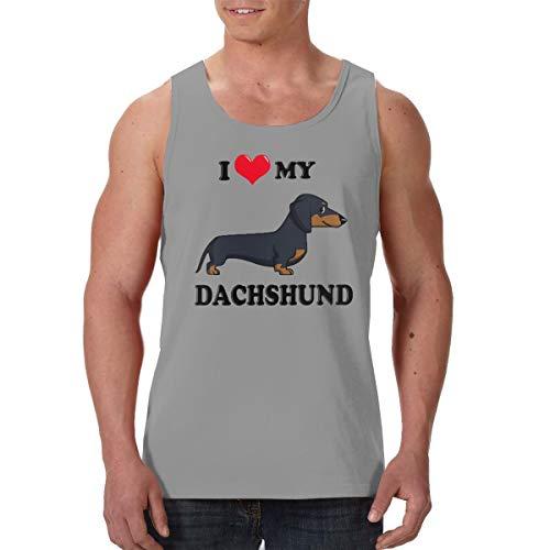 (SFDHFGH Men's Performance Sleeveless I Love My Dachshund Dog Workout Muscle Bodybuilding Tank Tops Shirts)