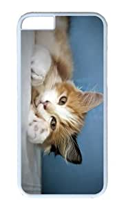 MOKSHOP Adorable cat comfort Hard Case Protective Shell Cell Phone Cover For Apple Iphone 6 Plus (5.5 Inch) - PC White