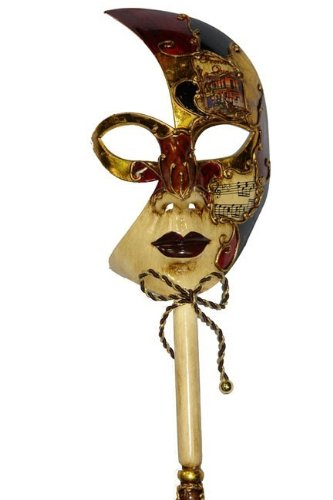 Venetian Musical Carnival Mardi Gras Masquerade Mask on a Stick Style 5