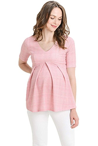 Hello MIZ Women's Floral and Polka Dot Pleated Peplum V Neck Maternity Top (Pink Plaid, Large) (Polka Dot Peplum Dress)