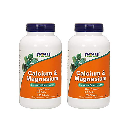 Now Foods Calcium & Magnesium, 250 Tablets (Pack of 2)