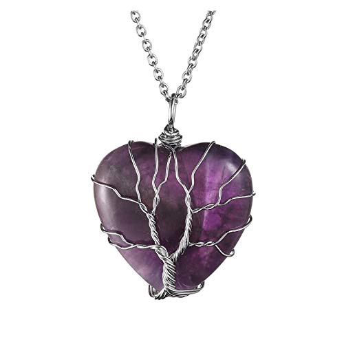 JOVIVI Natural Amethyst Heart Tree of Life Necklace Healing Purple Raw Quartz Gemstone Chakra Wire Wrapped Crystal…
