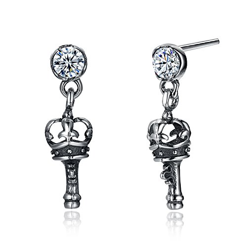 Vintage King Sceptre Mace Stud Earrings 925 Sterling Silver White Cubic Zircon Punk Rock Gift by YJEdward