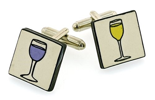 Ceramic Wine Cufflinks. Made in England