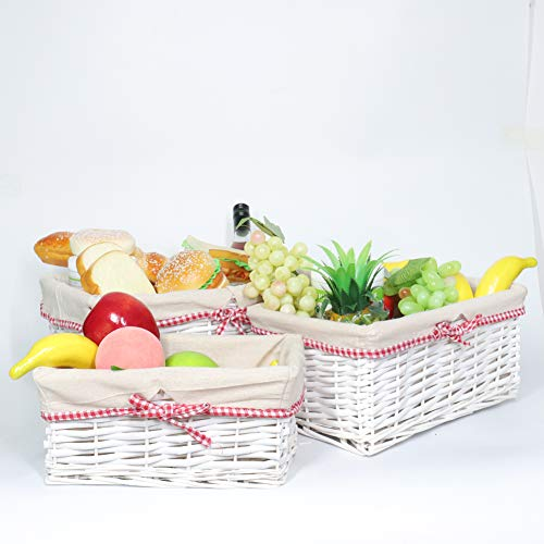MEIEM Utility Storage Baskets, Woven Wicker Storage Baskets with Removable Liners (Set of 3,White) (Willow White Laundry Basket)