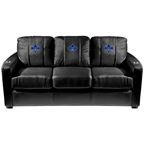 XZipit NBA Silver Sofa with New Orleans Hornets Secondary Logo Panel, Black