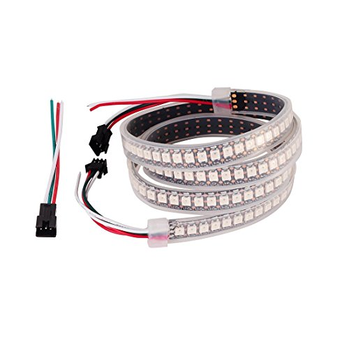 WS2812b 60 Led Pixel Flexible Rgb LED Strip 1m, VideoPUP 3ft/ 39 inch WS2812 5V 24-Bit RGB, IP67 Waterproof LED Strip for Outdoor / Indoor, Gardens, Homes, Wedding, Christmas Party, Decorative (Bit Set 3' Power)