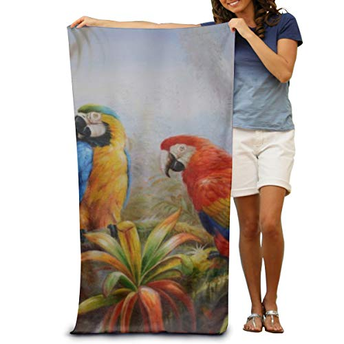 - Beach Towel, Pool Towel Jungle Parrot Absorbent, Soft, Quick Dry, Lightweight, Bath Towel
