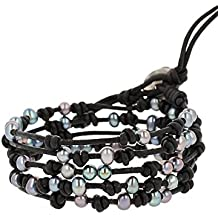 Chan Luu Peacock Blue Freshwater Cultured Pearls On A Black Knotted Leather Wrap Bracelet