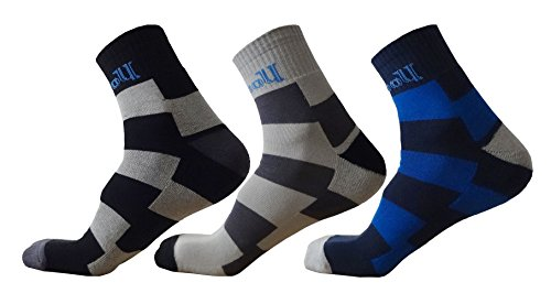 wooU Men's Soft Cotton Half Terry Ankle Length Socks (Pack of 3)