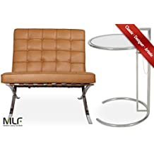 MLF Barcelona Chair + Eileen Gray End Table (Chair: Light Brown Italian Leather)(8 Combinations)