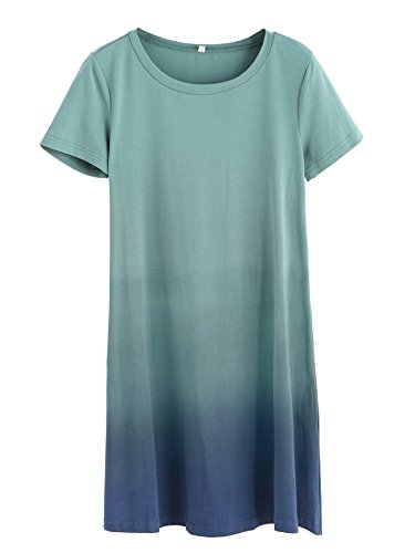 b53e27be4 Romwe Women's Tunic Swing T-Shirt Dress Short Sleeve Tie Dye Ombre Dress  Multicolor M