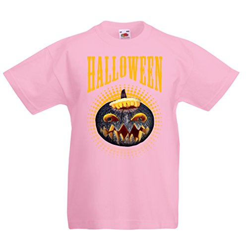 T Shirts for Kids Halloween Pumpkin - Clever Costume Ideas 2017 (9-11 Years Pink Multi Color) ()