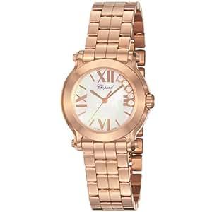 Chopard Mujer 274189–5003Happy Sport redonda rosa de cuarzo analógica Swiss reloj