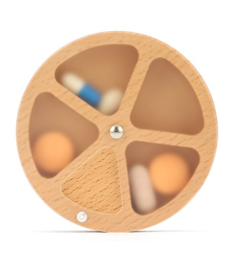 Kedera Wooden Pill Organizer Portable -Clear Pill Case with 360 Degree Rotation 4 Compartments Week Pill Container (Wood Color)