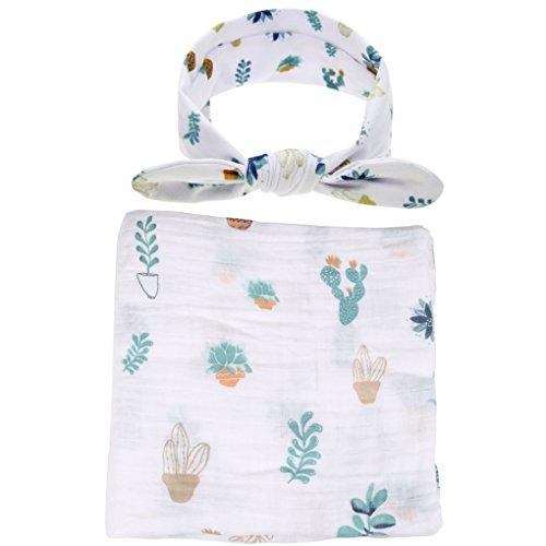 Ufraky Infant Baby Swaddle Wrap Blanket Sleeping Bag Bed Sheet Headband with Cute Pattern (Cactus) by Ufraky