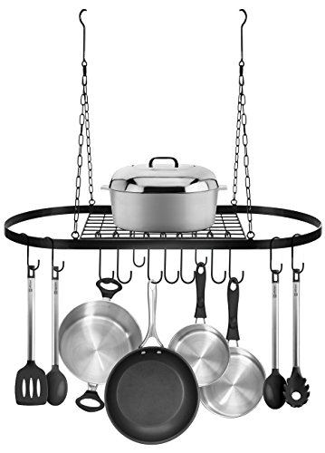 Sorbus Pot and Pan Rack for Ceiling with Hooks — Decorative Oval Mounted Storage Rack — Multi-Purpose Organizer for Home, Restaurant, Kitchen Cookware, Utensils, Books, Household (Hanging Black) by Sorbus (Image #3)