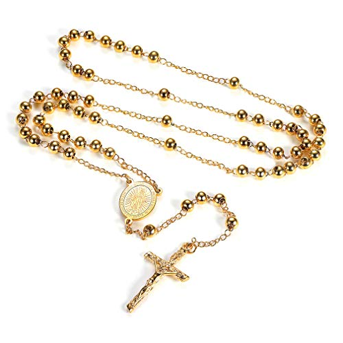 FaithHeart Rosary Beads Catholic Necklace, Holy Soil Virgin Mary Medal with Cross Crucifix Pendant, 6MM Beads, 28 Inches Chain, 6.7 Inches Pendant (Gold) ()