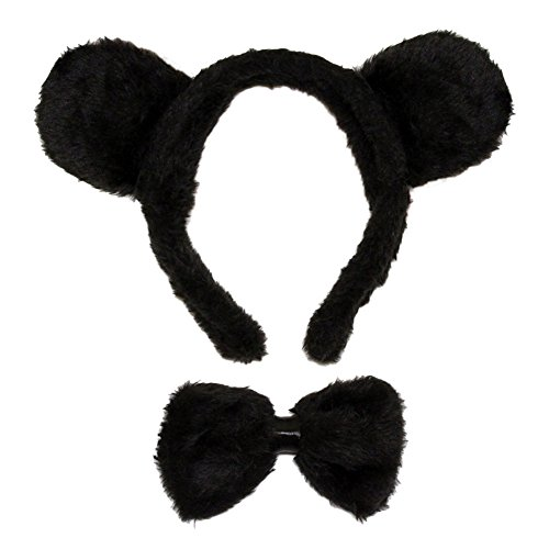 SeasonsTrading Black Bear Ears & Bow Tie Costume Set ~ Halloween Costume Kit