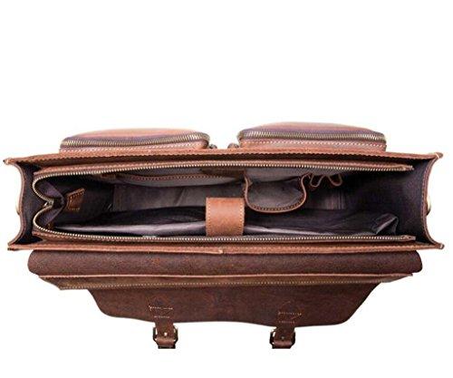 Durable viaje Los Deep Alta De bolso La Bolso Y Cuero Bao Computadora Hombres bolso Compras Cartera Vendimia Usable Negocios Brown Capacidad HTwxP8q61