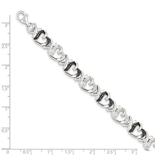 ICE CARATS 925 Sterling Silver Black White Diamond Bracelet 7.5 Inch /love Fine Jewelry Gift Set For Women Heart by ICE CARATS (Image #4)