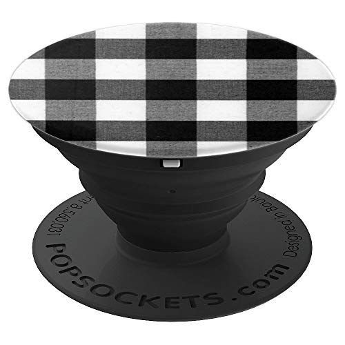 PopSockets: Gingham Black, Grey and White Buffalo Check - PopSockets Grip and Stand for Phones and Tablets