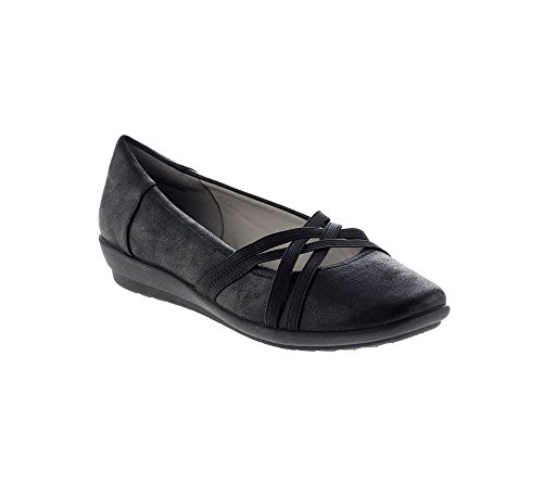 Easy Spirit Women's Aubree2 Flat, Black Fabric, 9.5 M US