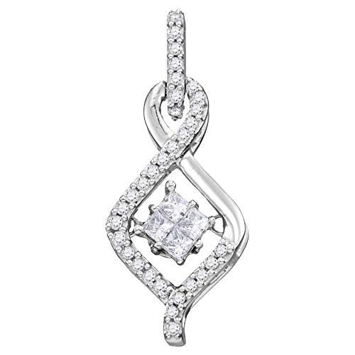 Jewels By Lux 10kt White Gold Womens Princess Diamond Moving Twinkle Cluster Teardrop Pendant 1/5 Cttw In Invisible Setting (I1 clarity; G-H color)