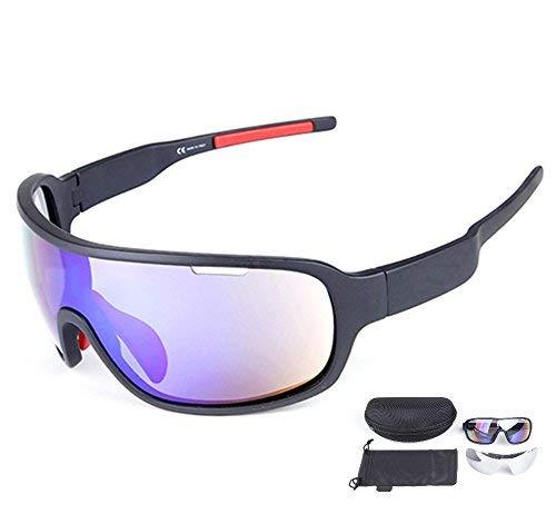 Lorsoul Polarized Sports Cycling Sunglasses Bike Glasses for Men Women Running Driving Fishing Golf Baseball Racing Ski Goggles (Black)