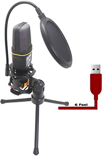 USB Microphone with Suspension Tripod Stand and Double Layer Pop Filter for PC/Laptop Windows or Mac YouTube Twitch Video Recording and Streaming Audio