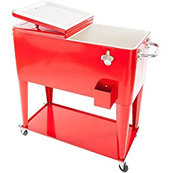 Red Outdoor Patio 80 Quart Rolling Cooler Cart Ice Beer Beverage Chest  Party With Wheels (
