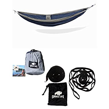 Simple Living Outdoors Single Hammock - Perfect for camping, backpacking, hiking and travel portable packable parachute/nylon material (Blue/gray)