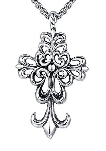 Collier pendentif en acier inoxydable, unisexe, Fleur-de-lis Croix, Religieuse, chaîne à maillons ronds