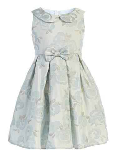 Sweet Kids Big Girls Blue Blossom Collared Jacquard Bow Easter Dress 12 -