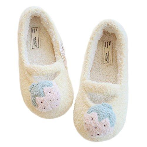 Maison Emballage Agréable Pantoufles Velours Forme Confortable Jds® Fortuning's Fraise Jaune Plate Chaussures Femmes Filles CX18q