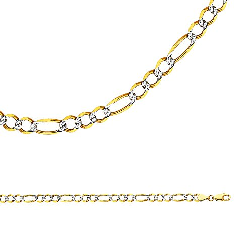 Solid 14k Yellow & White Gold Necklace Figaro Chain Pave Open Link Two Tone Light, 4.7 mm - 22 (Open Figaro Chain)