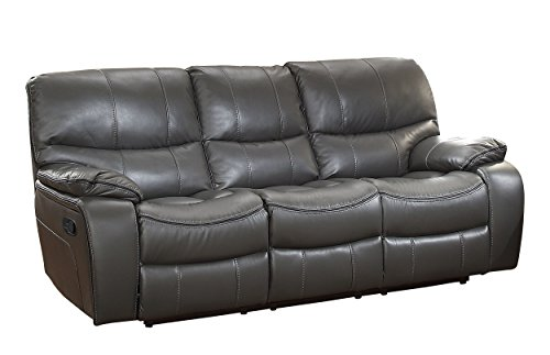 - Homelegance Pecos Leather Gel Manual Double Reclining Sofa, Gray