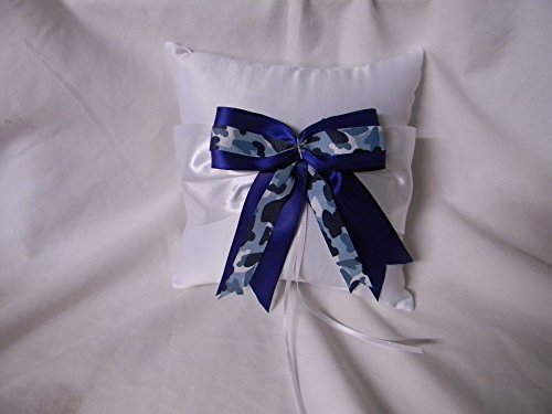 Wedding ceremony Party Military Ring bearer Pillow Blue Camo Bow and Ribbons by Custom Design Wedding Supplies by Suzanne