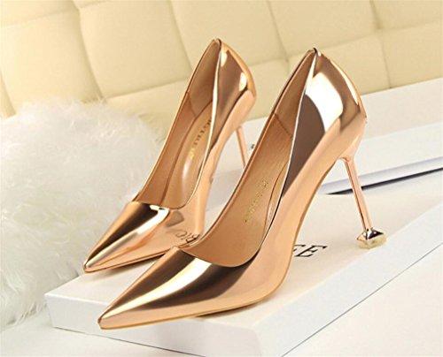 EU39 4 High Bride Stiletto Brass A Girls LUCKY Women Sandals Heels Princess Shoes Season Ladies CLOVER Heel Glossy Blink Multicolor qnqHU46F