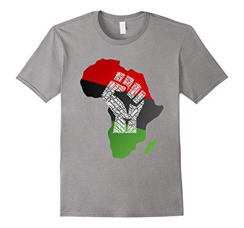 African Slate - Mens Pan African Flag Shirt Antifa Fist UNIA United Black Tee Medium Slate