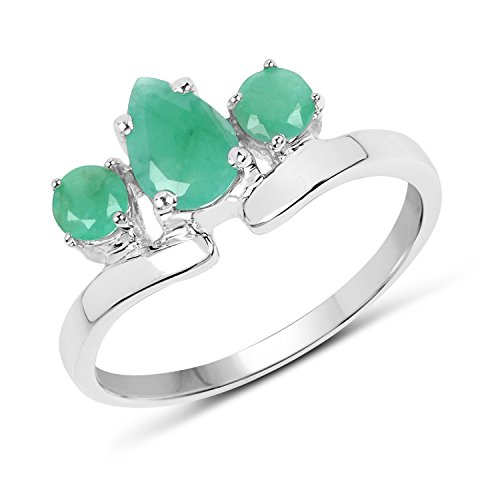 Emerald Stone Ring 3 Genuine (925 Sterling Silver 0.96 ct Genuine Emerald 3 Stone Wedding Engagement Ring)
