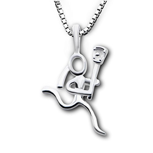 ChalkTalkSPORTS Sterling Silver Lacrosse Girl (Stick Figure) Necklace (Sterling Lacrosse Stick)