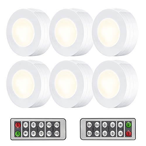 Arvidsson LED Under Cabinet Lighting, Wireless LED Puck Lights with Remote, Closet Light Battery Operated, Dimmable Under Counter Lights for Kitchen, Natural White - 6 Pack by Arvidsson